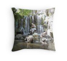 Elephant Splash Party Throw Pillow