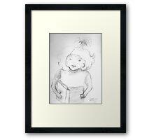 sketch of a girl reading Framed Print