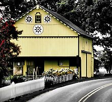 Yellow Barn on a Country Road by Carrie Blackwood