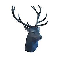 Polygon Blue Deer Photographic Print