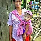 Burmese mother and son by John Mitchell