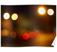 Abstract blurred night scene on city road Poster
