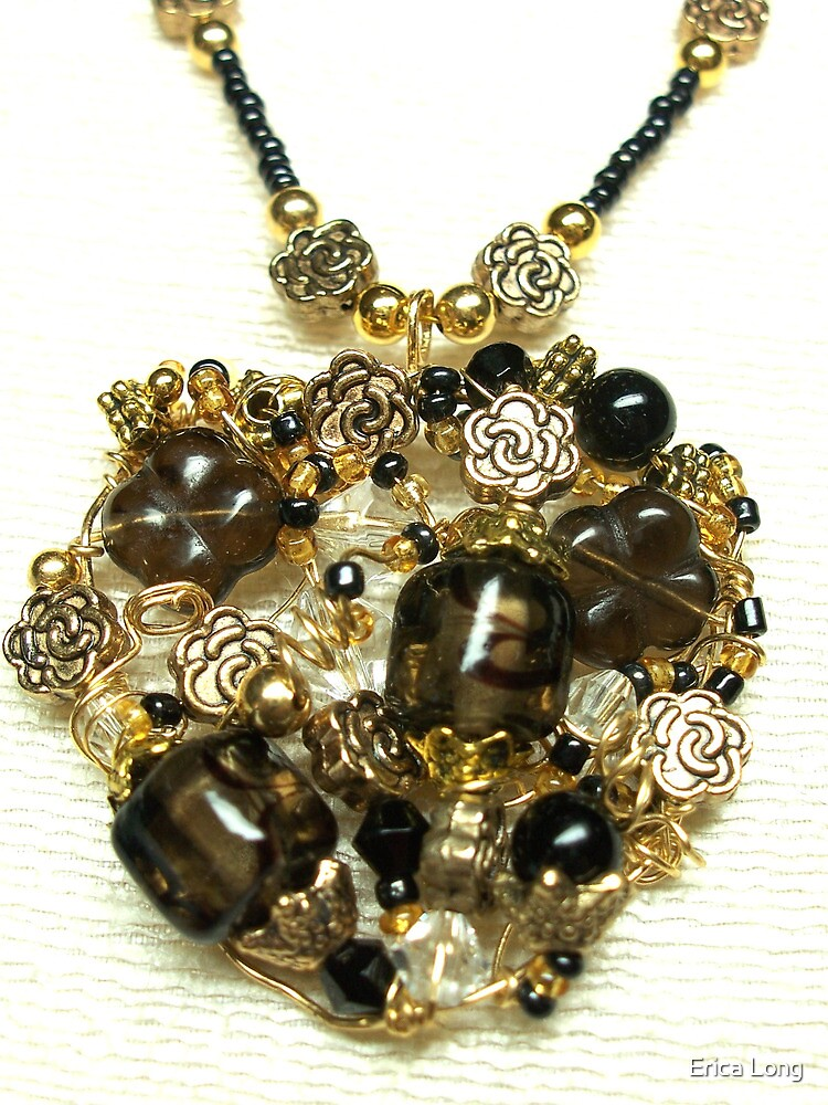 Black and Gold Heart Pendant by Erica Long