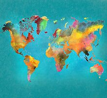 World map blue by JBJart