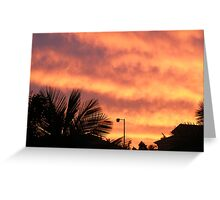 Orange Sunset In Suburbia Greeting Card