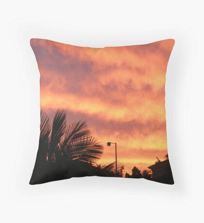 Orange Sunset In Suburbia Throw Pillow
