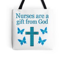 BEAUTIFUL BLUE BUTTERFLY AND CROSS NURSE GIFT Tote Bag