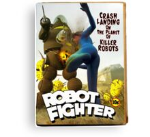 Robot Fighter Fake Pulp Cover 2 Canvas Print