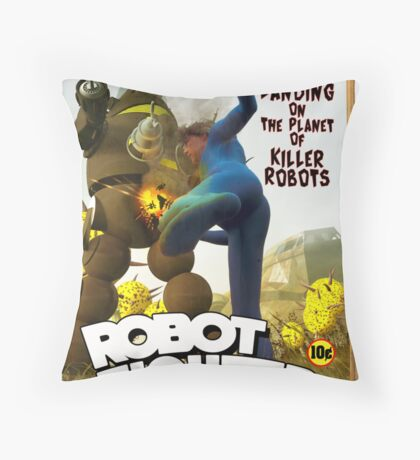 Robot Fighter Fake Pulp Cover 2 Throw Pillow
