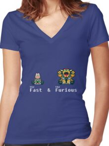 the Fast & The Furious kart Women's Fitted V-Neck T-Shirt