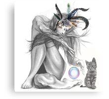 Feather lady & kitten  Canvas Print