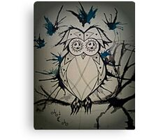 Owlie the crazy owl Canvas Print