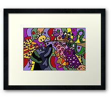 Funny Colorful Animals Abstract Framed Print