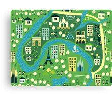 seamless map of paris Canvas Print