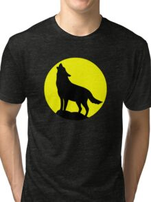 Wolf Howling At The Moon Tri-blend T-Shirt