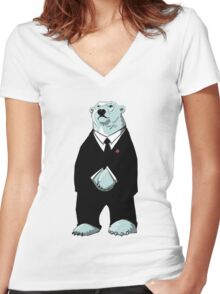 Be Cool Polar Bear. Women's Fitted V-Neck T-Shirt