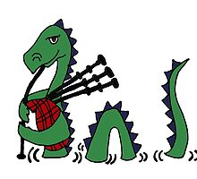 Funny Loch Ness Monster Playing Bagpipes by naturesfancy