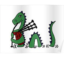 Funny Loch Ness Monster Playing Bagpipes Poster
