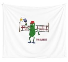 Funny Pickleball Pickle and Net Wall Tapestry