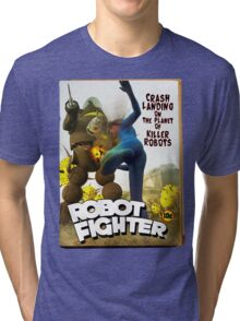 Robot Fighter Fake Pulp Cover 2 Tri-blend T-Shirt