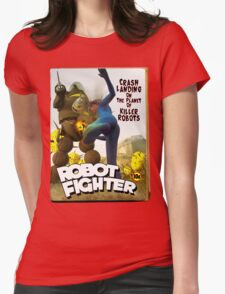 Robot Fighter Fake Pulp Cover 2 Womens Fitted T-Shirt