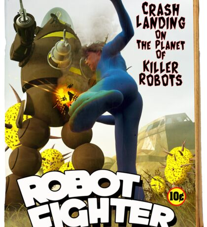 Robot Fighter Fake Pulp Cover 2 Sticker