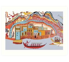 Minoan Miniature Frieze Admirals Flotilla Thera Fresco Art Art Print
