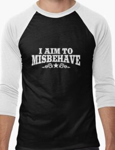 I Aim to Misbehave (White) Men's Baseball ¾ T-Shirt