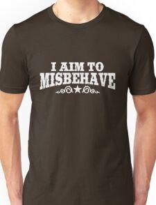 I Aim to Misbehave (White) Unisex T-Shirt