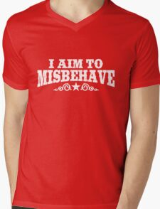 I Aim to Misbehave (White) Mens V-Neck T-Shirt