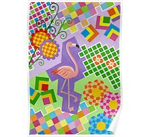 FLAMINGO IN COLORS AND SHAPES WITH SQUARS Poster