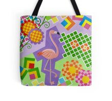 FLAMINGO IN COLORS AND SHAPES WITH SQUARS Tote Bag