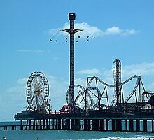 Flyin' High at Pleasure Pier, Galveston, Texas by Karen L Ramsey