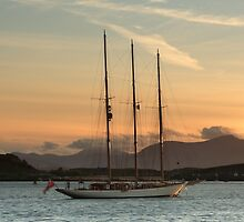 Oban Bay Tall Ship at Sunset by Maria Gaellman