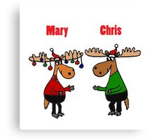 Funny Mary Chris Moose Christmas Art Canvas Print