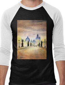 Charles Bridge Prague - Evening Strollers Men's Baseball ¾ T-Shirt