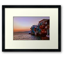 Greece. Mykonos. Little Venice. Twilight. Framed Print