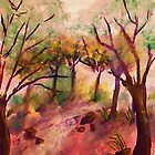 Path out of the forest, watercolor by Anna  Lewis