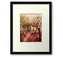 Path out of the forest, watercolor Framed Print