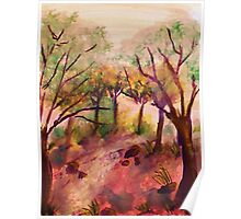Path out of the forest, watercolor Poster