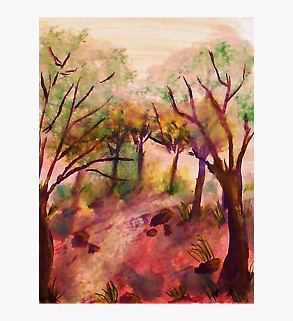 Path out of the forest, watercolor Photographic Print