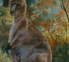 Kangaroos in the mist by Natasha Hodgson