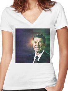Patriot Ronald Reagan Women's Fitted V-Neck T-Shirt
