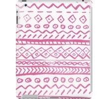 Pink white watercolor hand painted aztec pattern iPad Case/Skin