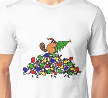 Funny Beaver on Dam with Christmas Lights Unisex T-Shirt