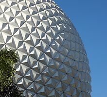 Epcot's Spaceship Earth & Palm Tree by disgirl