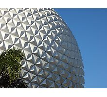 Epcot's Spaceship Earth & Palm Tree Photographic Print