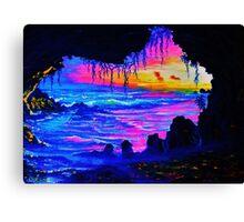Misty cave Sunset Canvas Print