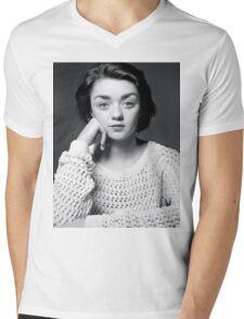 Maisie Williams Black & White Mens V-Neck T-Shirt