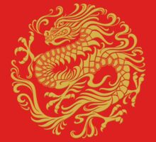 Traditional Yellow and Red Chinese Dragon Circle Kids Tee